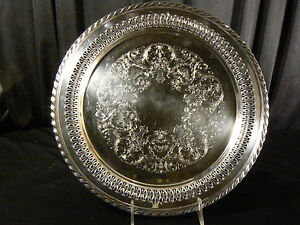 Vintage Wm Rogers Silverplate Server Pierced Reticulated Tray