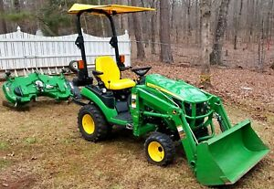 Nice 2016 John Deere 1025r 4x4 Tractor 54 Belly Mower H120 Front end Loader