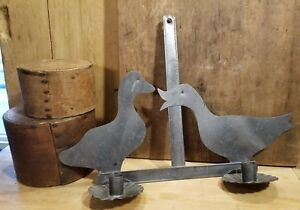 Vintage Primitive Hanging Double Tin Candle Sconce Pair Of Geese Later 1900 S