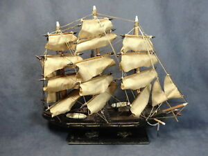 Vintage 1950s Wooden Model 1840s 1850s Clipper Ship Sailing Nautical 17 X 15
