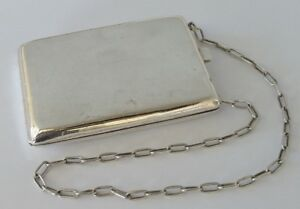 Vtg Sterling Silver 800 Compact Coin Holder Dance Purse With Chain