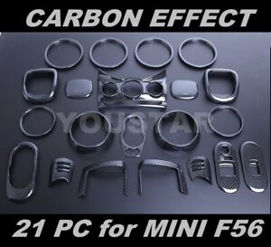Usa Stock 21 Pieces Combo Set Carbon Effect Interior Trims For Mini Cooper S F56