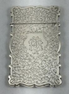 Floral Victorian Birmingham England 1892 Sterling Card Case By George White