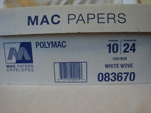 Mac Paper 500 Business Window Envelopes Polymac Number 10 White Wove 083670