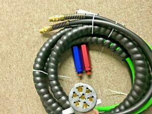 15ft 3 In 1 Abs Air Line Hose Wrap 7 Way Electrical Cable Aluminium Handle Grip