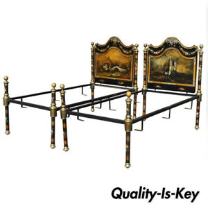 Pair Of 19th Century Hand Painted Mother Of Pearl Inlay Single Twin Bed Frames