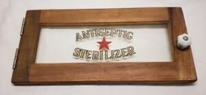 Vintage Antiseptic Sterilizer Counter Cabinet Case Glass Door Only Nice
