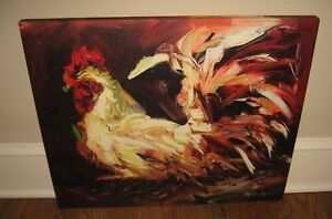Large Rooster Canvas Wall Picture Farmhouse Primitive French Country Urban Decor