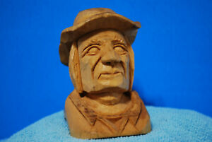 Old Man Hand Carved Wooden Head Figure