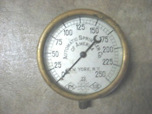 Pat 1908 Automatic Sprinkler Co Of America ny ny Brass Sprinkler Air Gauge