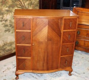 Solid Tiger Oak Wood Queen Anne Cabinet 8 Small Drawer Cupboard Chest Of Drawer