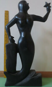 Mid Twentieth Century Hand Carved Wooden Mermaid Statue 22 Tall Painted Black