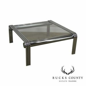 Mid Century Modern Tubular Chrome Glass Top Coffee Table
