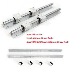 2 Set Sbr20 800mm 1000mm Length Linear Rail Support Shaft Rod 4 Sbr20uu Bearing
