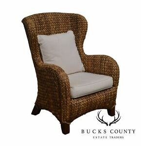 Pottery Barn Seagrass Wingback Arm Chair