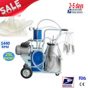 Usa Electric Milking Machine For Cows 25l Bucket Vacuum Piston Pump Automatic