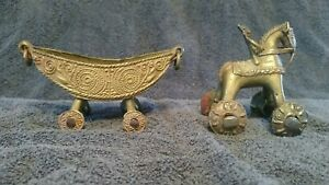 1900s Antique East India Brass Temple Toy Horse