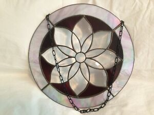 Round Beveled Stained Glass Window Panel Burgundy Opal 14