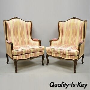 Pair Of Vintage French Louis Xv Style Wingback Bergere Armchairs W