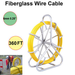 110m 360ft Fish Tape 6mm Fiberglass Wire Cable Running Rod Duct Rodder Puller