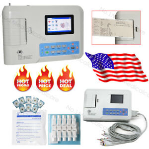 Digital 3 Channel 12 Lead Ecg ekg Machine Sticky Electrodes Banana Connector