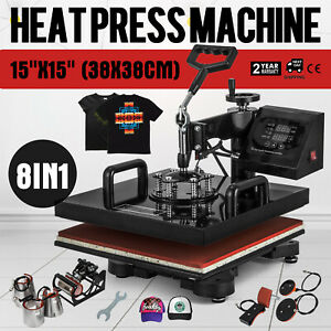 8in1 Heat Press Machine T shirt Transfer 15 x15 Printer Digital Swing Away