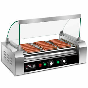 Commercial 18 Hot Dog Grill Cooker Machine Stainless Steel 7 Roller W Cover