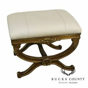 French Regency Style Vintage Gold Painted Leather X Bench