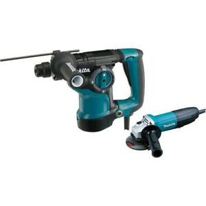 New Makita 1 1 8 Sds plus Rotary Hammer Drill And 4 1 2 Angle Grinder Hr2811fx