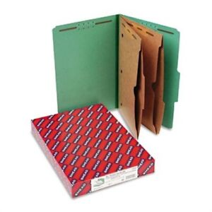 Pressboard Folders With Two Pocket Dividers Legal Six section Green 10 box X2