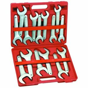 15 Pc Large Farmers Style 3 4 1 5 8 Sae Service Fitting Wrench Set With Case