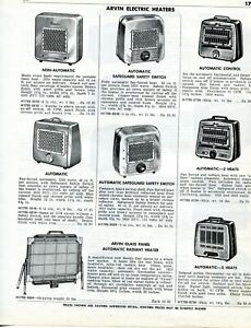 1958 Print Ad Of Arvin General Electric Ge La Salle Electric Space Heaters