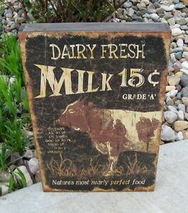 Big Brown Cow Wood Box Sign Dairy Milk Primitive French Country Farmhouse Decor
