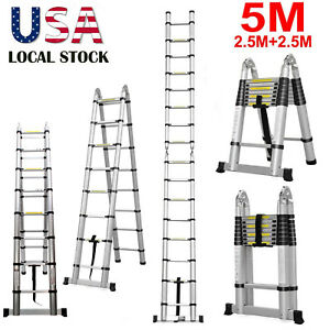 Telescopic Folding Ladder Extendable Stepladder 5m 16 5ft Aluminum150kg Maxload