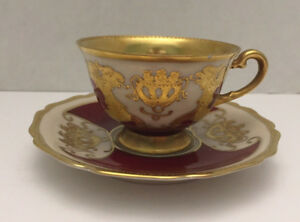 D W Bavaria White Red Gold Porcelain Hand Painted Footed Tea Cup Saucer