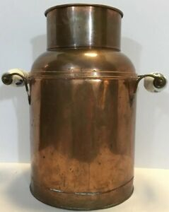 Antique Dutch Country Copper Delft Handles Farm Farmhouse Milk Can Vintage