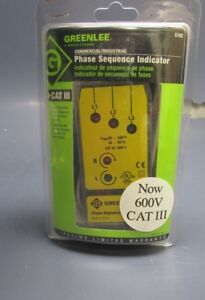 New Greenlee Commercial industrial Phase Sequence Indicator 5702