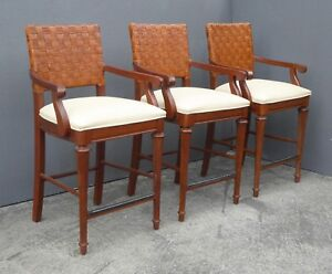Set Of Three Tiki Palm Beach Style Rattan Barstools Bar Stools Stanley Furniture
