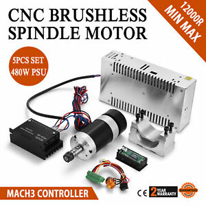 Cnc 400w Brushless Spindle Motor Speed Controller Mount 600w Psu Fresh