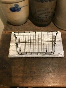 Old Painted Wood Piece With Wire Basket