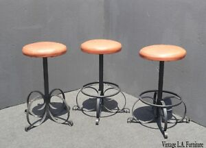Set Of Three Vintage Spanish Style Orange Iron Bar Stools Mid Century Modern