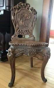 Elaborate C1900s Art Nouveau Carved Chair Iris Foliate Cabriole Legs Must See