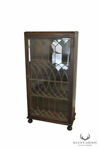Antique Oak Arts Crafts Style Leaded Glass Door Bookcase