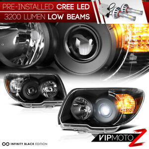 Cree Led Bulb Installed 06 09 Toyota 4runner Black Replacement Headlight Lamp