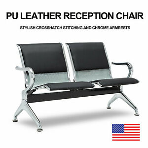 Waiting Room Chair Office Bench 2 seat Salon Airport Reception Pu Leather Black