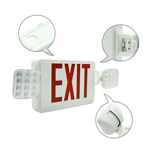 Indoor Emergency Exit Sign Light Fixtures Led Fire Lights W Battery Back Up Red