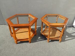 Pair Vintage Mid Century Octagon End Tables W Cane Shelf Beveled Glass Top