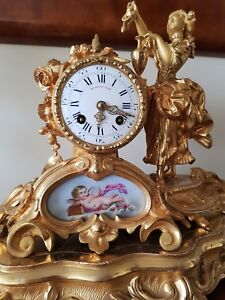 Antique French Ormolu Figural Mantel Clock Base Glass Dome