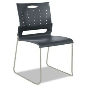 Continental Series Perforated Back Stacking Chairs Charcoal Gray 4 carton