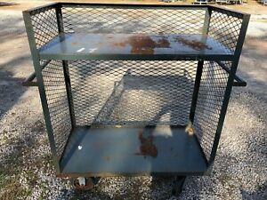 Metal 55 X 24 Heavy Duty Rolling Food Stock Cage Wire Storage Cart Rack Handle